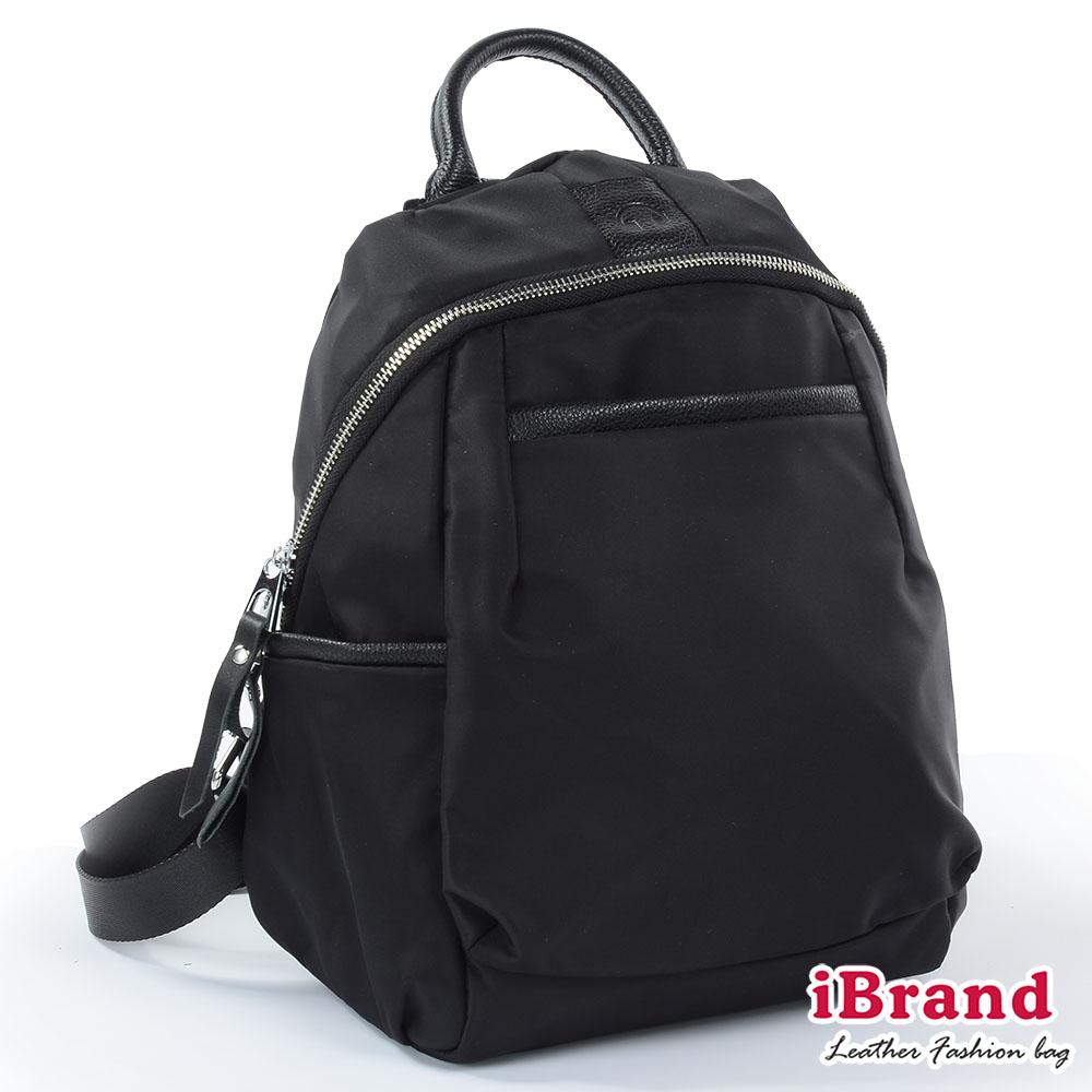 iBrand後背包 簡約真皮尼龍後背包-黑