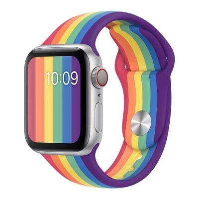 ANTIAN Apple Watch Series 5/4/3/2/1 彩虹液態矽膠運動錶帶 時尚透氣手錶帶 舒適腕帶 官方同款