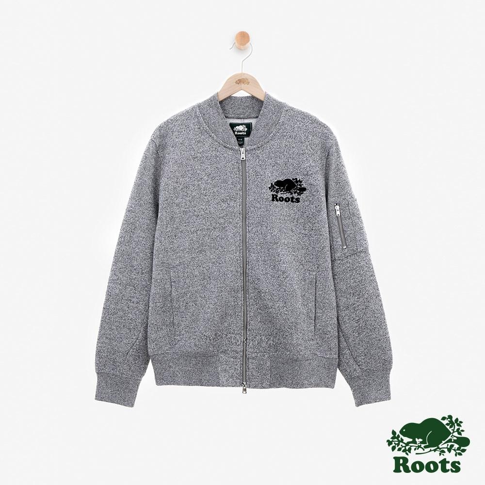男裝Roots 芝麻灰系列刷毛夾克-灰色