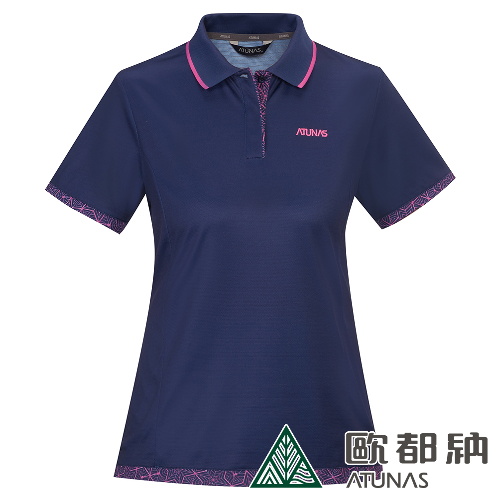 【ATUNAS 歐都納】女款X-STATIC短袖POLO衫A-P1905W藍