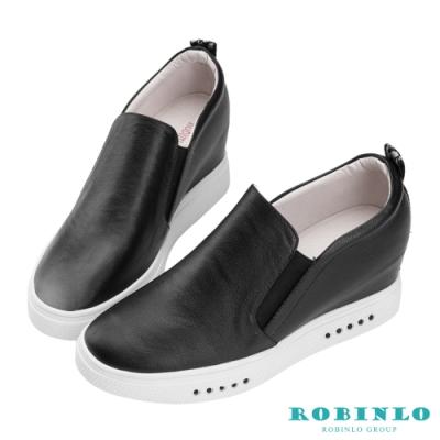 Robinlo 經典款個性織帶牛皮內增高休閒鞋 黑色