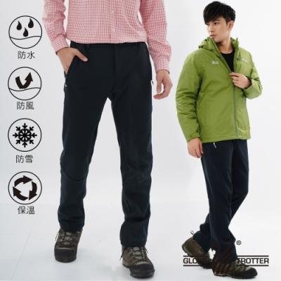 【遊遍天下】男款3D顯瘦防水防風禦寒軟殼刷毛褲(黑色)