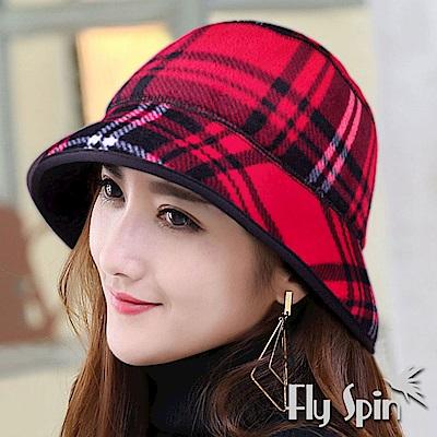 FLYSPIN 女款刷毛絨禦寒防風時尚格紋漁夫冬盆帽