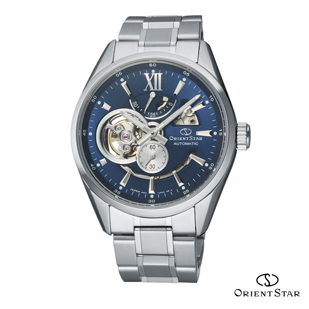 ORIENT STAR 東方之星 OPEN HEART系列 鏤空機械錶 鋼帶款 藍色