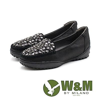 W&M 奢華寶石厚底羊皮休閒鞋 女鞋 - 黑(另有灰)