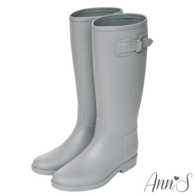Ann'S突然期待雨天-素色銀扣長筒雨靴-灰
