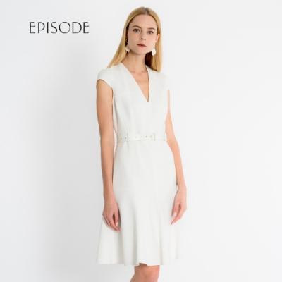EPISODE - 知性優雅V領腰帶設計短袖洋裝(白)