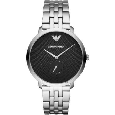 Emporio Armani 亞曼尼極簡小秒針手錶(AR11161)-黑x銀/42mm