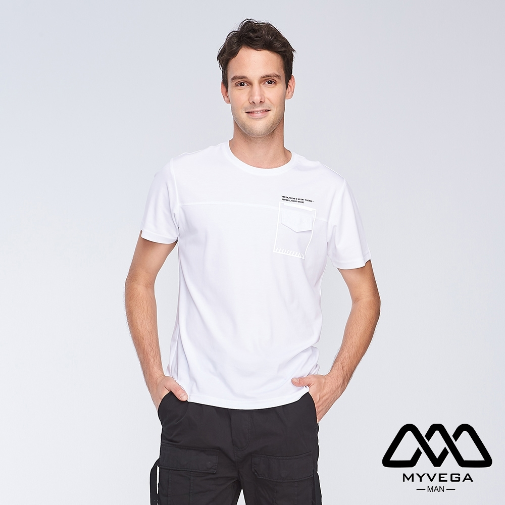 MYVEGA MAN夜光印花寬鬆短袖T恤-白