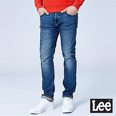 Lee 707中腰合身小直筒牛仔褲/101+-中藍色