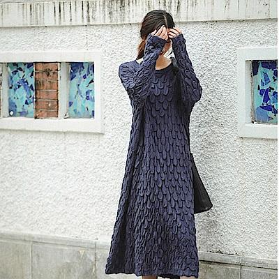 洋裝-雙層加厚泡泡立體純棉毛衣裙-設計所在