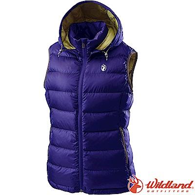 Wildland 荒野 0A62171-80藍紫色 女700FP拆帽輕羽絨背心