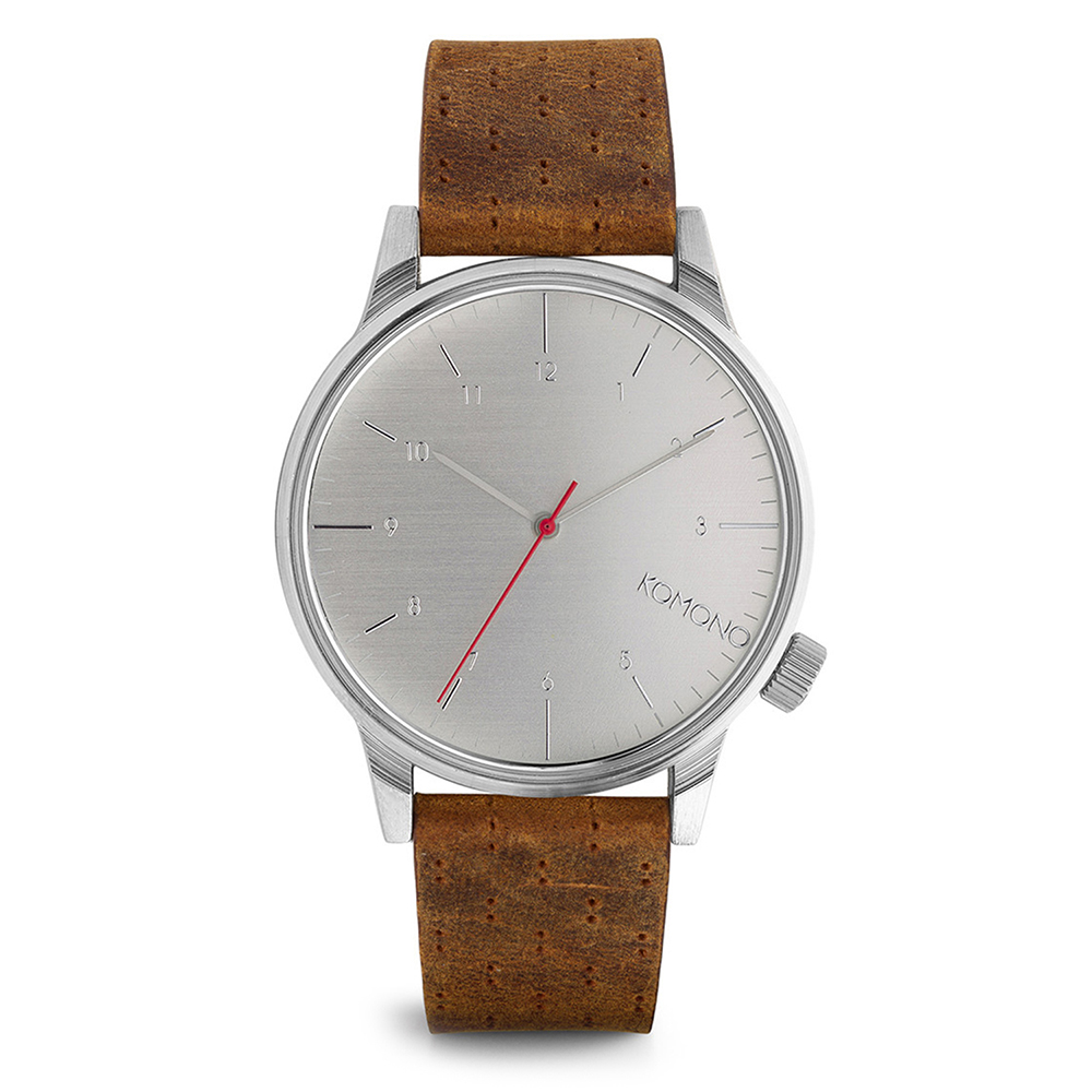 KOMONO Winston 腕錶-布朗棕x太空銀/41mm