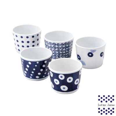 西海輕量波佐見燒五入湯吞杯組-藍丸紋