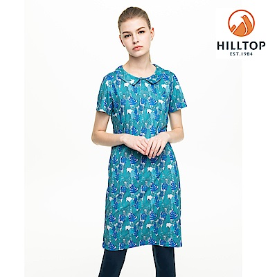 【hilltop山頂鳥】女款吸濕快乾抗UV抗菌長版POLO衫S14FF8藍