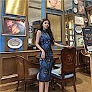 DABI 韓國復古盤扣旗袍孔雀高腰無袖洋裝