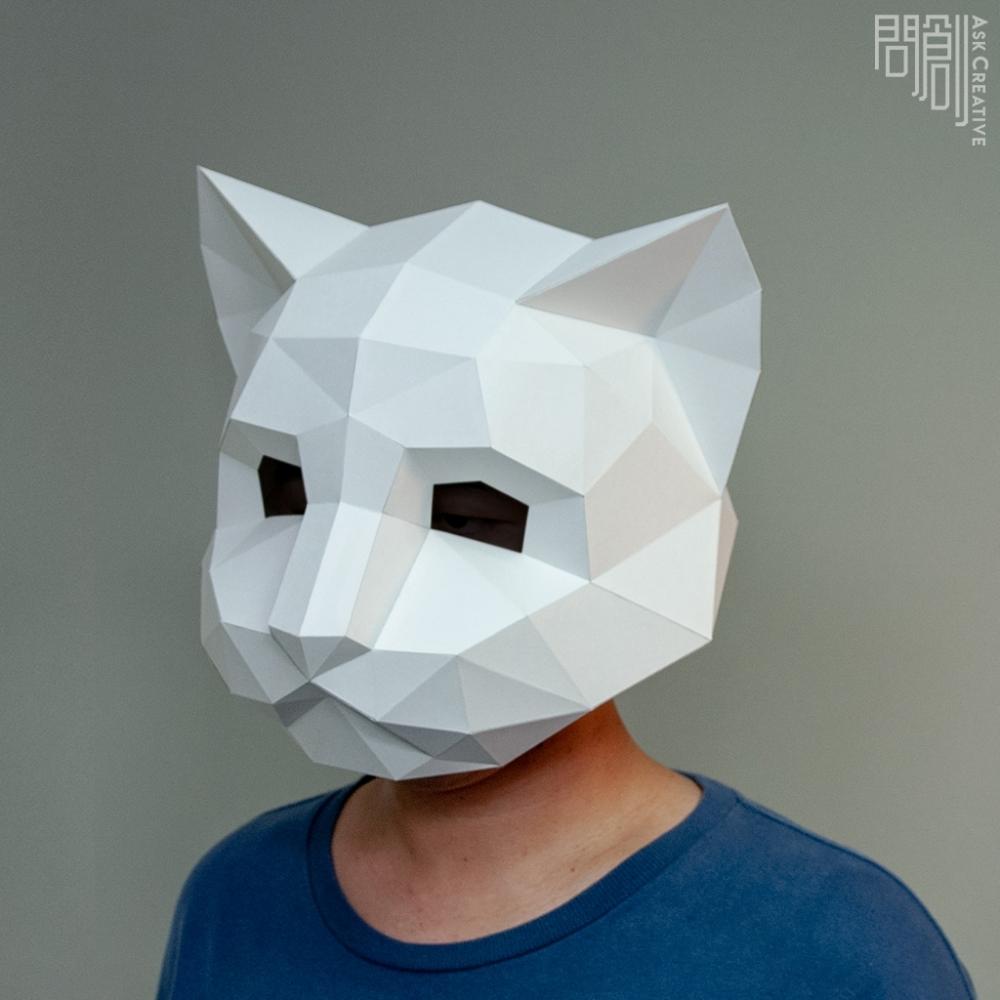 問創設計 DIY手作3D紙模型 頭套 面具系列 - 貓咪面具 (大人款)