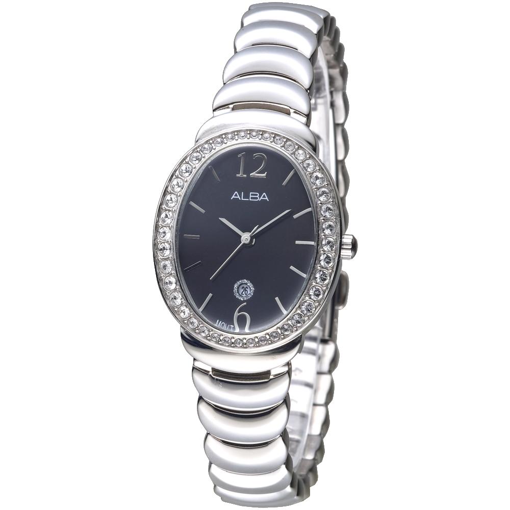 ALBA雅柏手錶 霓裳瑰寶施華洛世奇晶鑽女錶-黑(AH7L49X1)/32*26mm 保固二年
