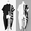 條紋拼接抽繩造型領衫洋裝-(共二色)Andstyle