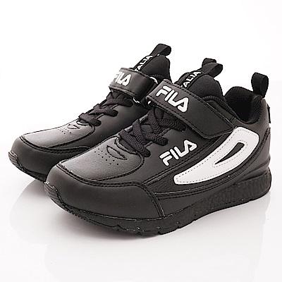 FILA頂級童鞋 皮質簡約機能款 EI09S-001黑(中大童段)