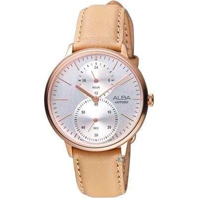 ALBA雅柏日系生活時尚腕錶(VD77-X007J A3A020X1)-膚褐色
