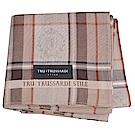 TRUSSARDI 貴族犬方格字母LOGO帕領巾(卡其色系)