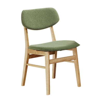 H&D 2朵特栓木綠色布餐椅