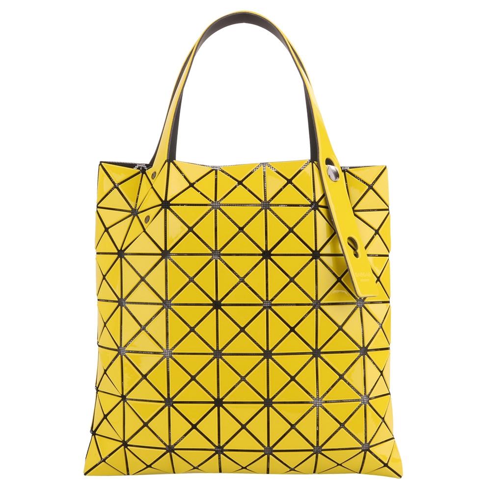 ISSEY MIYAKE  BAOBAO幾何方格7x7手提包/耀眼黃(亮面)