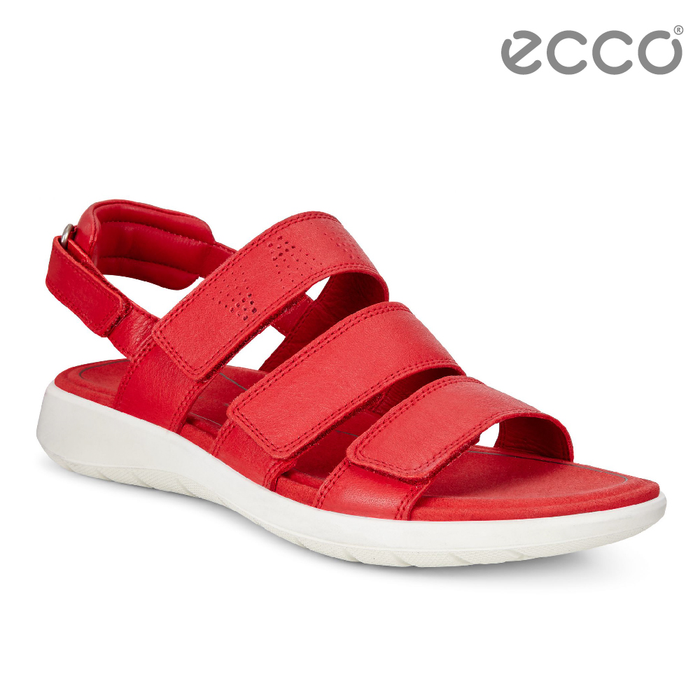 ECCO SOFT 5 SANDAL 魔鬼氈休閒涼鞋-紅