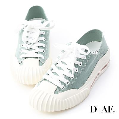 D+AF 街頭主流.奶油頭後踩式帆布休閒鞋*綠