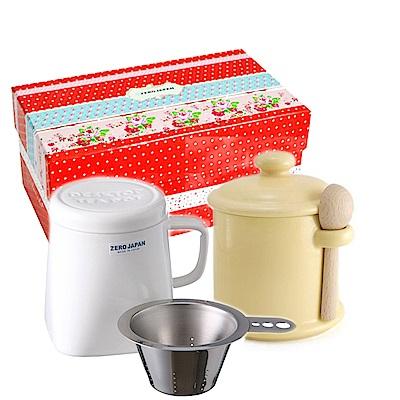 ZERO JAPAN 陶瓷儲物罐(香蕉黃)+泡茶馬克杯(白)超值禮盒組