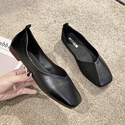 KEITH-WILL時尚鞋館 明星款和風細雨拼接方頭鞋-黑