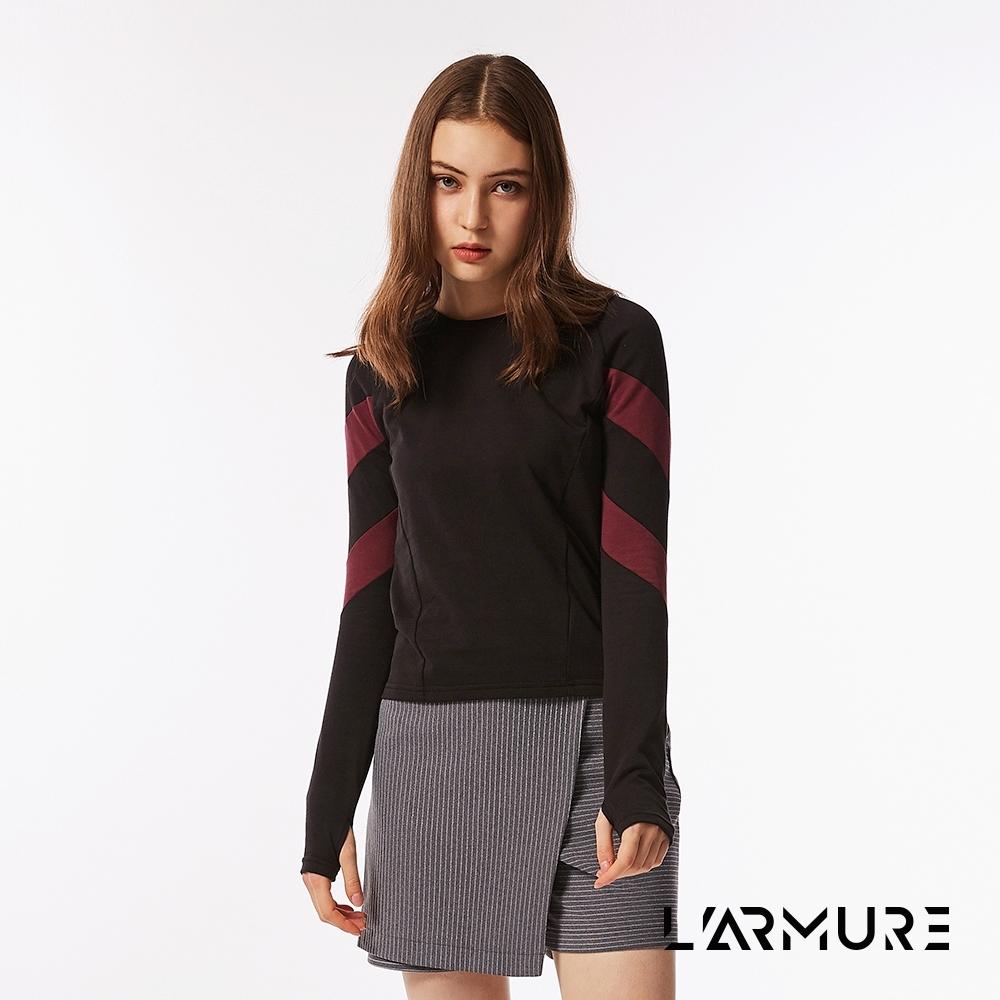 L'ARMURE 女裝 THot 斜條剪接 上衣 對稱 (黑色)
