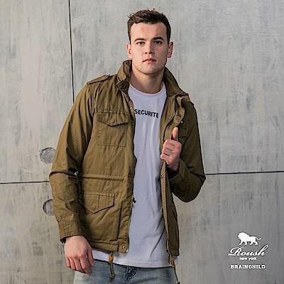 Roush 韓版鉚釘設計鋪棉軍裝合身短大衣 (2色)