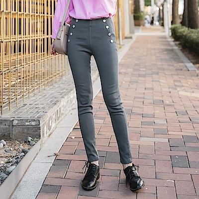 高腰排釦設計彈力合身窄管褲-OB嚴選