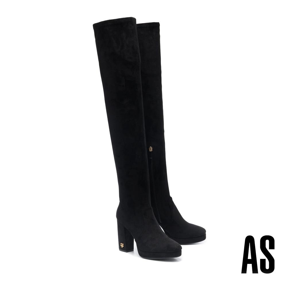 長靴 AS 復古時髦新經典金屬 LOGO 羊麂皮美型高跟長靴-黑