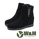 W&M 華麗真皮圓圈吊飾 內增高短靴女靴-黑(另有灰)