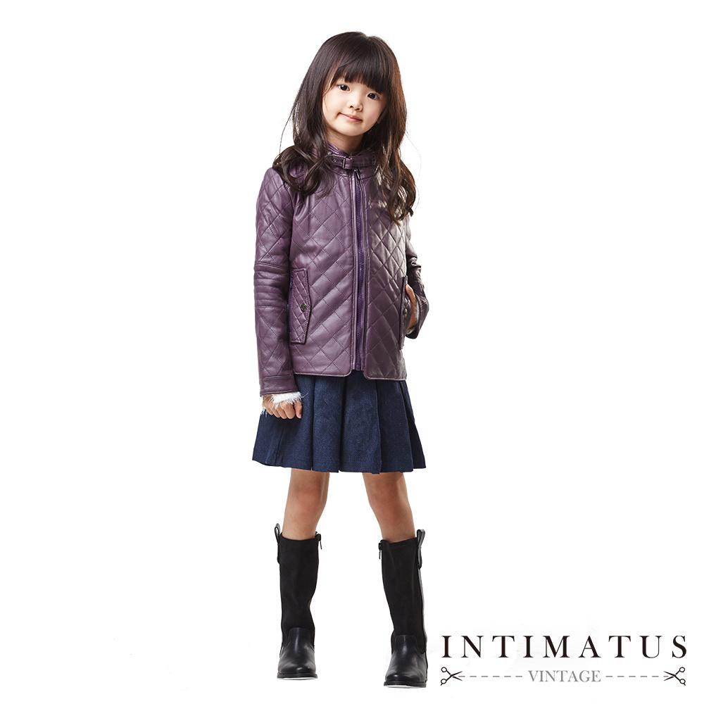 INTIMATUS 真皮 菱格紋小羊皮皮衣 女童裝 紫色