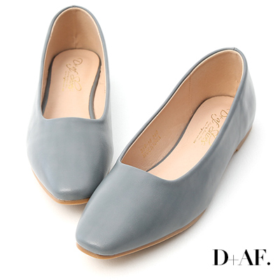 D+AF 溫柔春氛.小方頭素面百搭平底鞋*藍