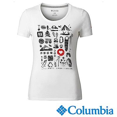 Columbia哥倫比亞 女款-快排短袖上衣-白色 UAR11030WT