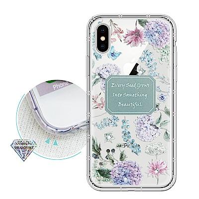 iPhone Xs Max 6.5吋 浪漫彩繪 水鑽空壓氣墊手機殼(幸福時刻)