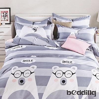 BEDDING-活性印染6尺雙人加大薄床包三件組-微笑時間