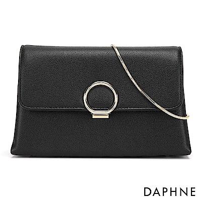 達芙妮DAPHNE-閃耀圓扣鍊帶小方包-黑色