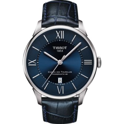 TISSOT天梭 杜魯爾系列動力80小時機械錶-藍/42mm
