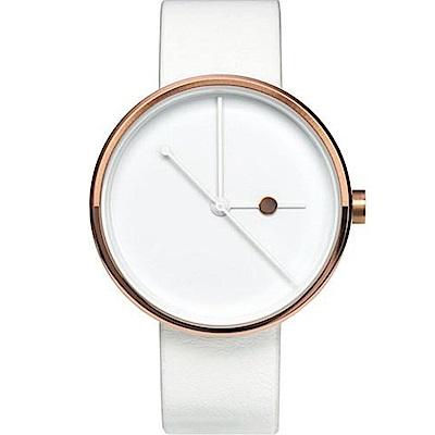 AÃRK 璀璨玫瑰金簡約真皮革腕錶 /白38mm