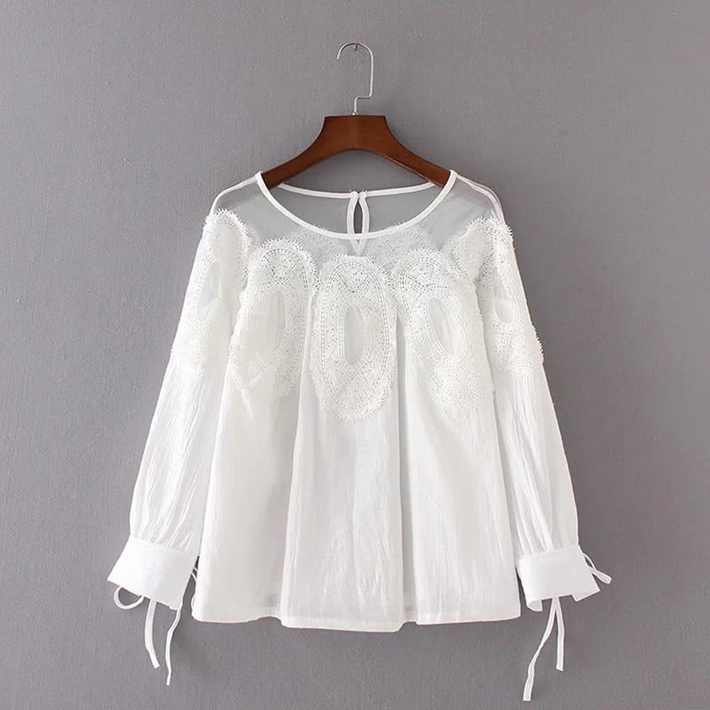 KT 蕾絲網紗拼接純色皺褶上衣-白/綠