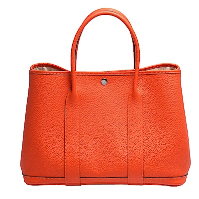 HERMES Garden Party GM小牛皮圖騰織布內裡暗釦手提包(36cm-橘)