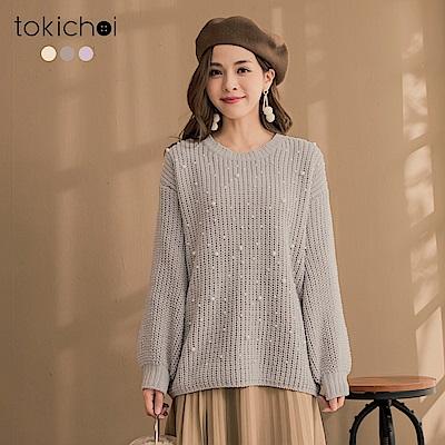 東京著衣 雪尼爾甜美日系珠珠點綴毛衣(共三色)