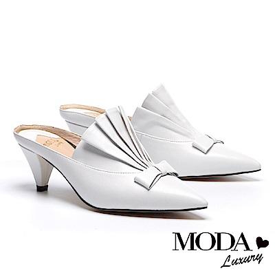拖鞋 MODA Luxury 自信品味立體抓皺設計尖頭穆勒高跟拖鞋-白