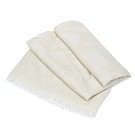 COACH 滿版LOGO羊毛混絲素色披肩圍巾 米白